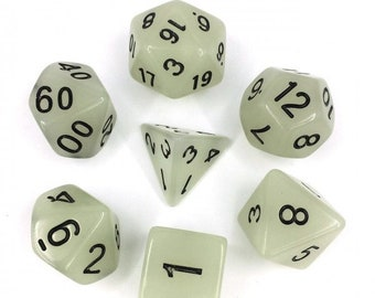 HDDice 7 Die Polyhedral Glow in the Dark Dice Set (White/Black) - Purchasing Cooperative