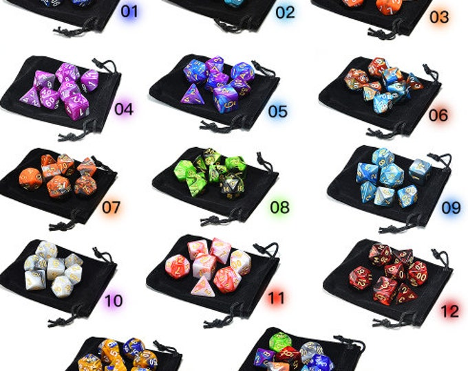 Besglo 7 Die Polyhedral Blended Dice Set (D4, D6, D8, D10, D00, D12, D20) - Purchasing Cooperative