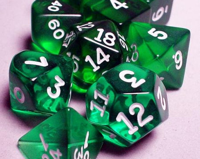 RPG Dice Sets: Green/White Transparent 10-Die Set