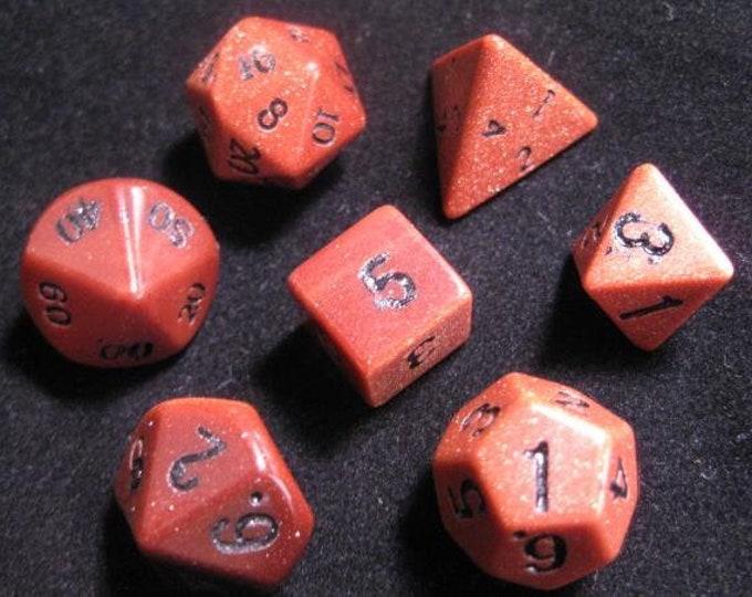 Dwarven Stone Dice - 14mm Goldstone Red Polyhedral 7-Die Set - 02081 - Crystal Caste