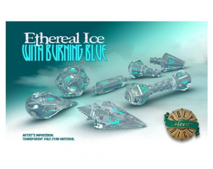 Wizardstone Ethereal Ice with Burning Blue Dice Set (7) - 2103 - PolyHero Dice