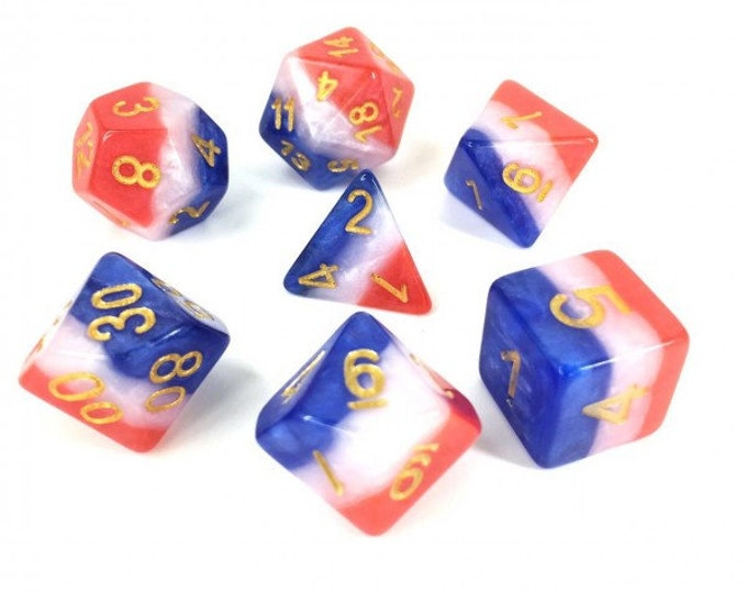 HDDice 7 Die Polyhedral Layered Dice Set (Red/White/Blue) - Purchasing Cooperative