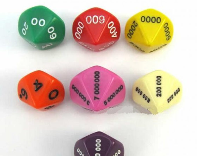 Unusual Dice - Place Value Dice with Numbers (Set of 7)