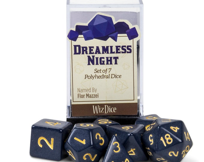 WizDice 7 Die Polyhedral Set in Velvet Pouch-Dreamless Night - Purchasing Cooperative