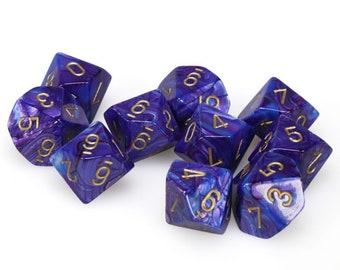 10d10 Lustrous: Purple/Gold - CHX27297 - Chessex