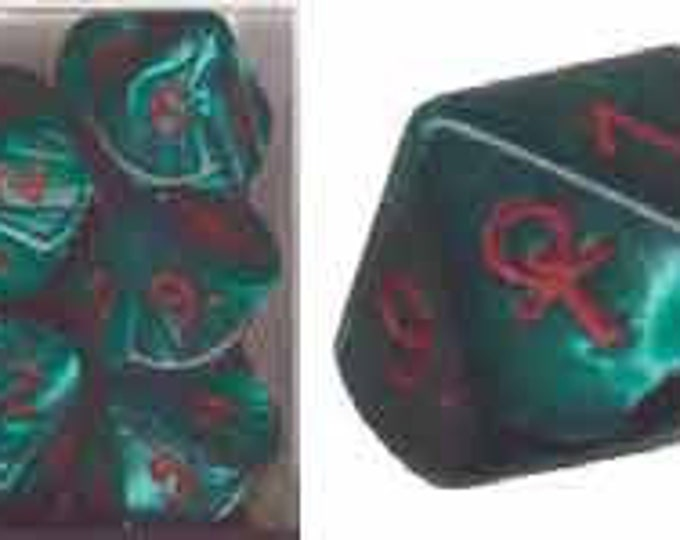 Special Icon Dice: Ankh Green/Red Pearlized d10 (1 Single Die)