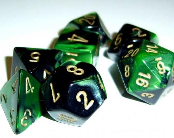 Gemini #4 Black-Green/Gold Polyhedral 7-Die Set - CHX26439 - Chessex