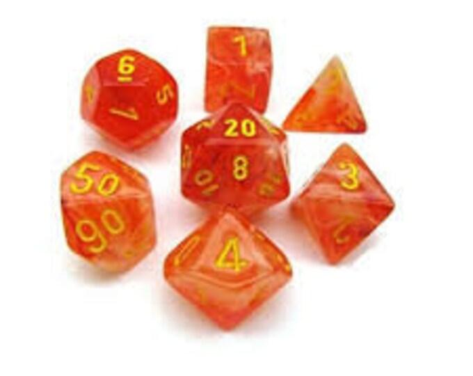 7-Die Set Ghostly Glow: Orange/Yellow - CHX27523 - Chessex