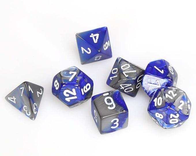 7-Die Set Gemini: Blue-Silver/White - CHX26423 - Chessex