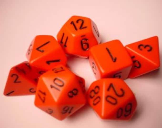 Orange/Black Opaque Polyhedral 7-Die Set - CHX25403 - Chessex