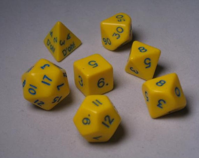 Backorder: Yellow Opaque D'oh! Polyhedral 7-Die Set - 06557 - Crystal Caste