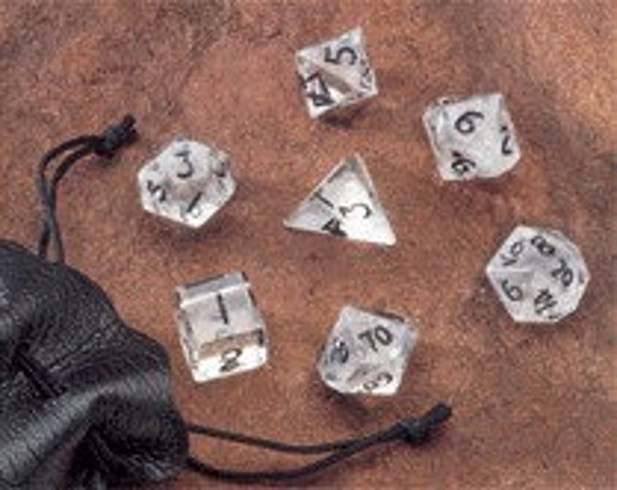 Dwarven Stone Dice - 12mm Clear Quartz Polyhedral 7-Die Set - 02008 - Crystal Caste