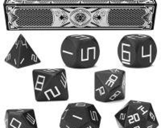 WizDice Set of 8 Precision Aluminum Polyhedral Dice (Obsidian Black)