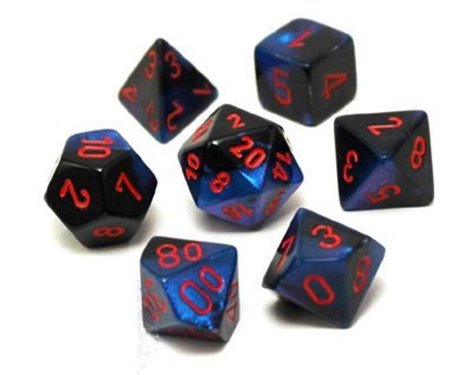 7-Die Set Gemini: Black-Starlight/Red - CHX26458 - Chessex