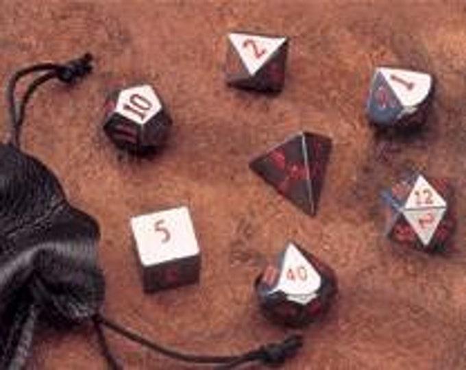 Dwarven Stone Dice - 14mm Hematite Polyhedral 7-Die Set - 02052 - Crystal Caste
