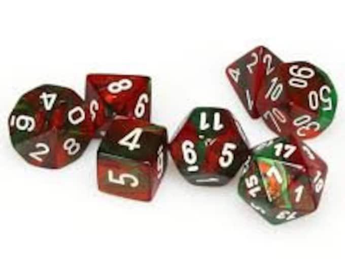 7-Die Set Gemini: Green-Red/White - CHX26431 - Chessex