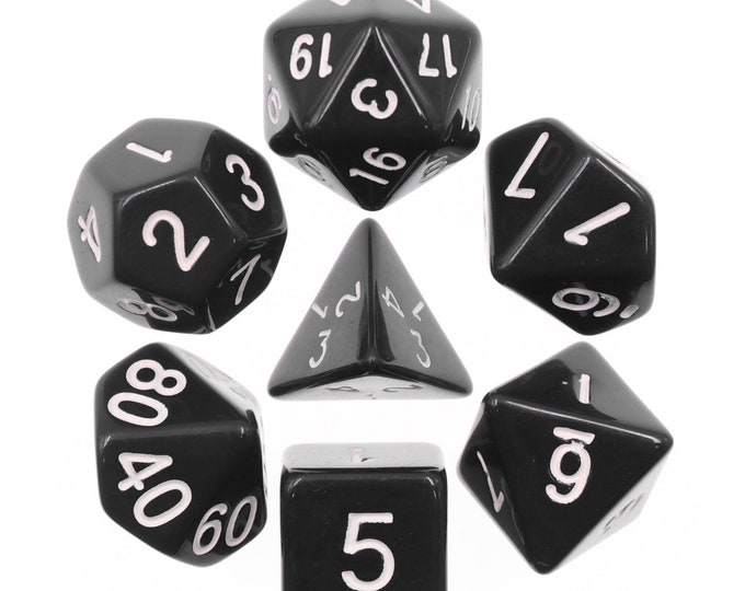 HDDice 7 Die Polyhedral Opaque Dice Set (Black/White) - Purchasing Cooperative