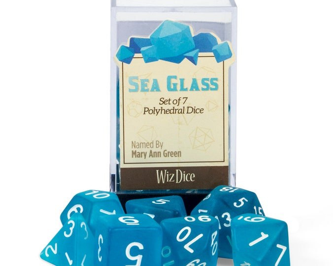 WizDice 7 Die Polyhedral Set in Velvet Pouch-Sea Glass - Purchasing Cooperative