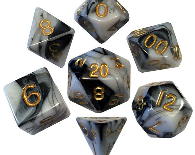 7-Die Set Marble: Marble/Gold- MTD1038 - Metallic Dice Games