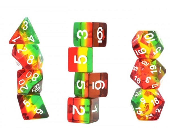 HDDice 11 Die Polyhedral Transparent Layered Red/Green/Yellow/Brown Set - Purchasing Cooperative