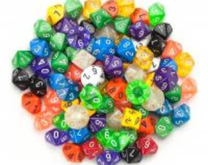 WizDice 100+ Pack of Random D10 Polyhedral Dice in Multiple Colors
