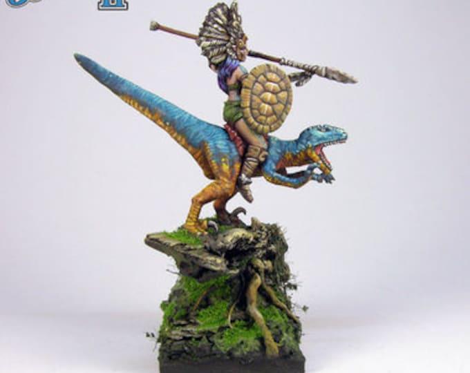 20006: Jungle Elf on Raptor - Bombshell Miniatures