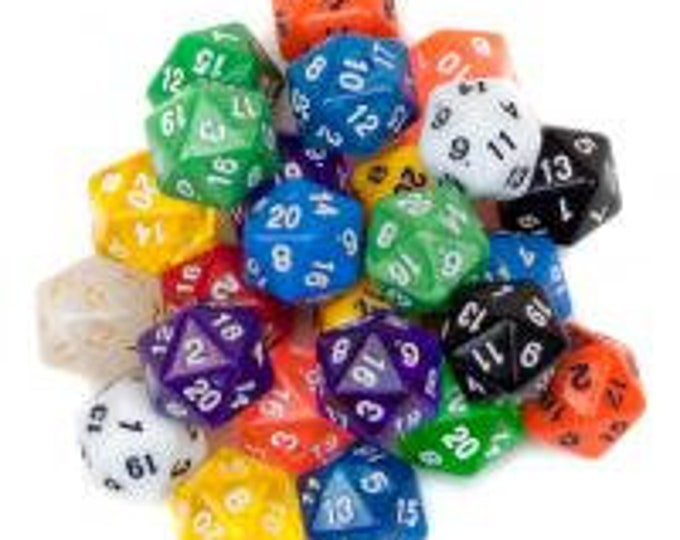 WizDice 25 Pack of Random D20 Polyhedral Dice in Multiple Colors