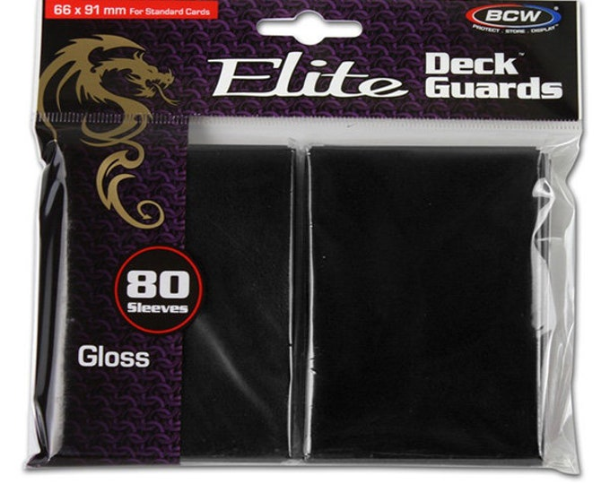 Card Sleeves: Elite Deck Guards- Black Gloss (80 count) - BCWDGEGBLK - BCW