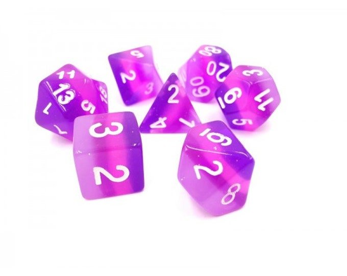 HDDice 7 Die Polyhedral Layered Dice Set (Translucent Purple Gradients) - Purchasing Cooperative