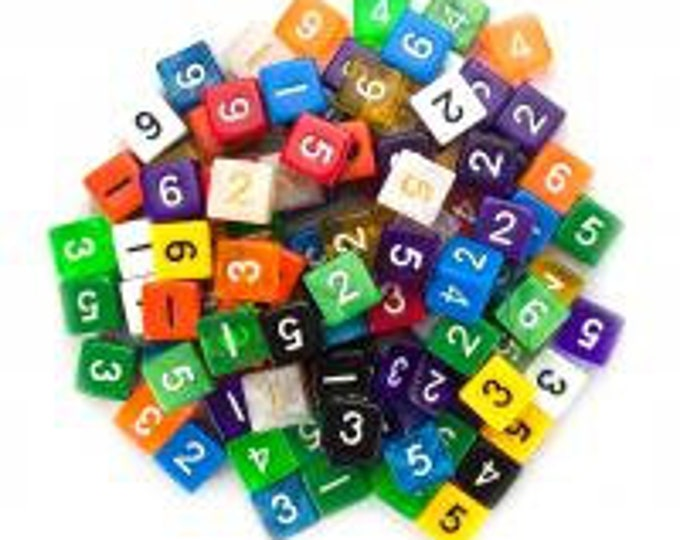 WizDice 100+ Pack of Random D6 Polyhedral Dice in Multiple Colors