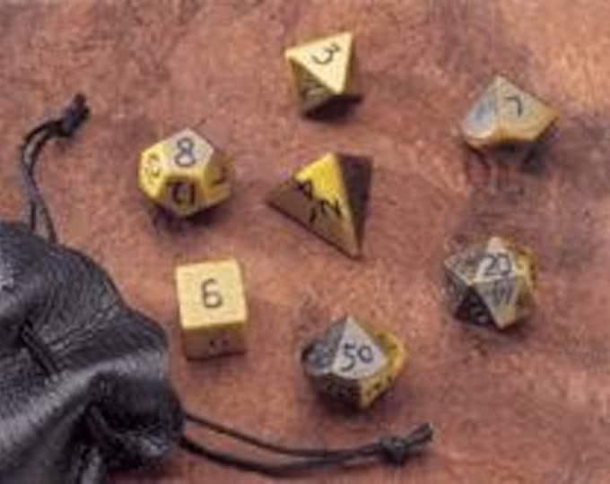 Dwarven Stone Dice - 14mm Tiger's Eye Polyhedral 7-Die Set - 02060 - Crystal Caste