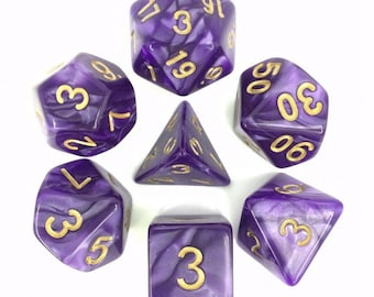 HDDice 7 Die Polyhedral Pearled Dice Set (Purple/Gold) - Purchasing Cooperative