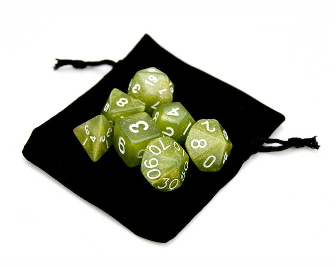 WizDice 7 Die Polyhedral Set in Velvet Pouch-Serpent - Purchasing Cooperative
