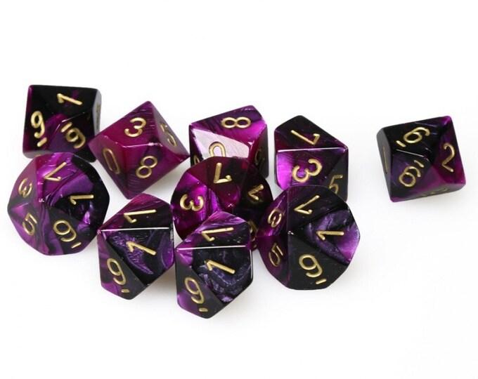 10d10 Gemini: Black-Purple/Gold - CHX26240 - Chessex