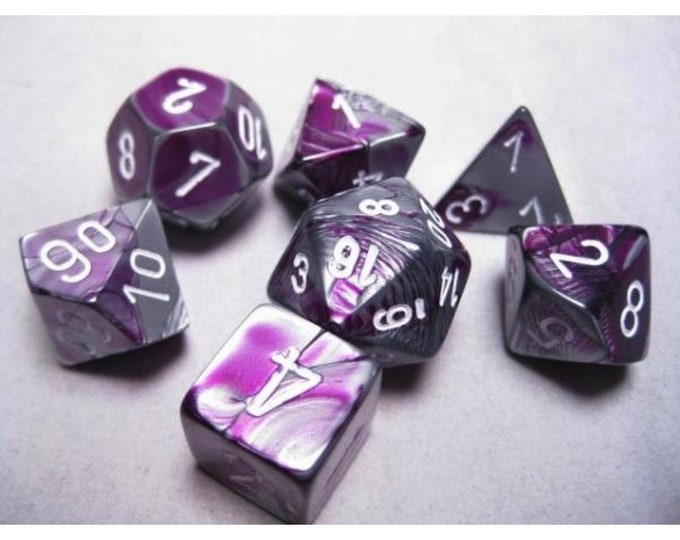 7-Die Set Gemini: Purple-Steel/White - CHX26432 - Chessex