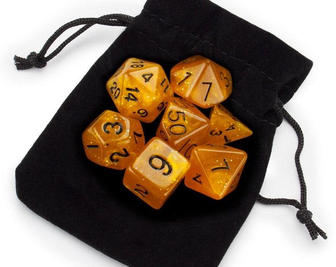 WizDice 7 Die Polyhedral Set in Velvet Pouch- Dwarven Brandy - Purchasing Cooperative