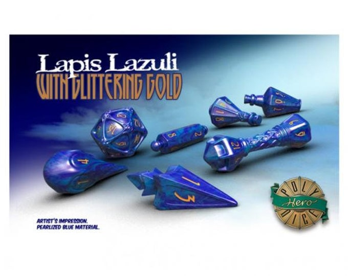 Wizardstone Lapis Lazuli with Glittering Gold Dice Set (7) - 2101 - PolyHero Dice