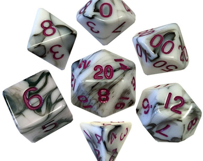 7-Die Set Marble: Marble/Purple - MTD1037 - Metallic Dice Games