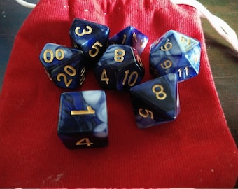 Beautiful Sky - 7 Die Polyhedral Set with Pouch