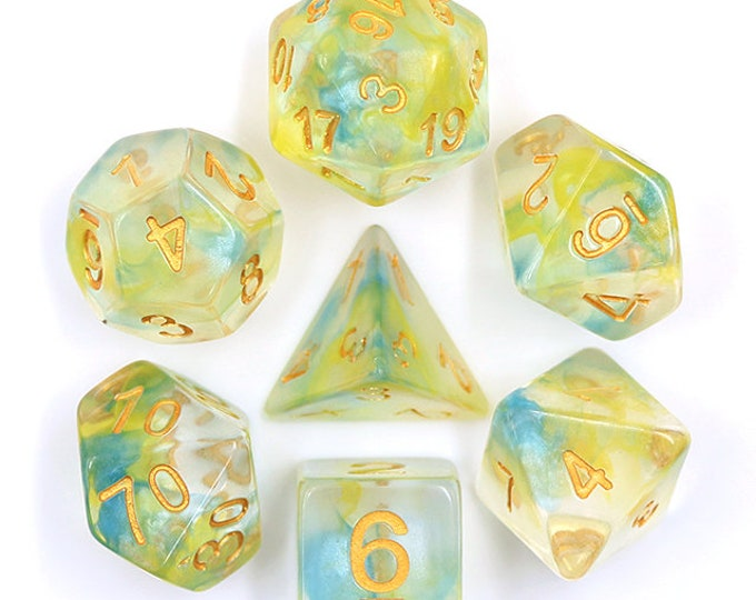 HDDice 7 Die Polyhedral Pearl Swirl Dice Set (Yellow-Blue/Gold) - Purchasing Cooperative