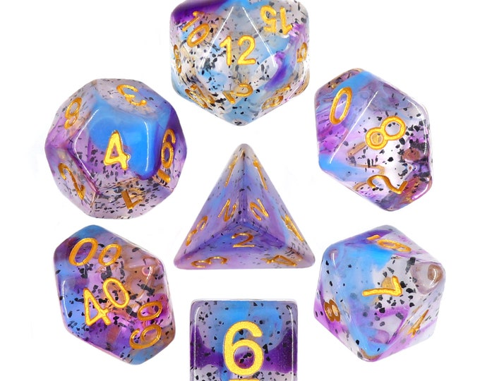 HDDice 7 Die Polyhedral Swirl Particle Dice Set (Violet Sulfur - Blue with Purple/White) - Purchasing Cooperative