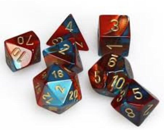 7-Die Set Gemini: Red-Teal/Gold - CHX26462 - Chessex
