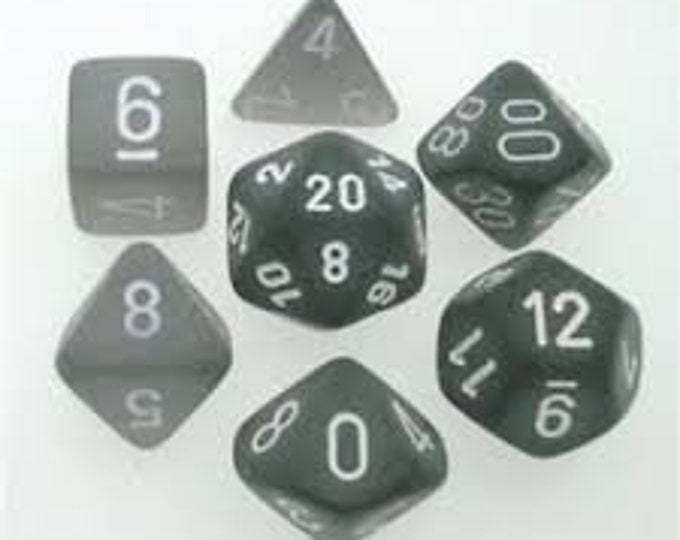 7-Die Set Frosted: Smoke/White - CHXLE431 - Chessex