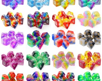 HDDice Gradient and Layered 7 Die Polyhedral Dice Set Pack (20 Sets) - Purchasing Cooperative