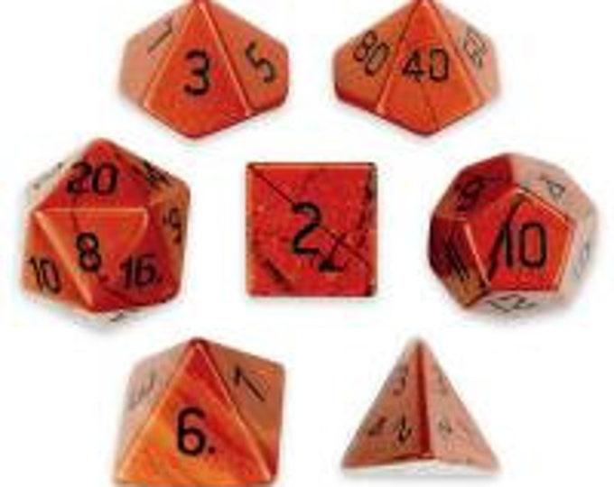 WizDice Set of 7 Handmade Stone Polyhedral Dice (Red Jasper)