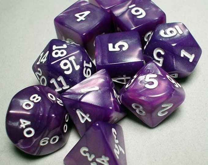 RPG Dice Sets: Purple/White Pearlized Polyhedral 10-Die Set