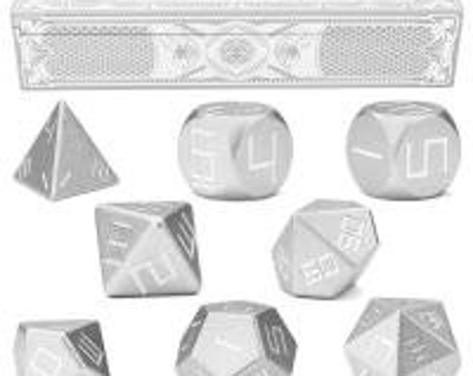 WizDice Set of 8 Precision Aluminum Polyhedral Dice (Mithril Silver)