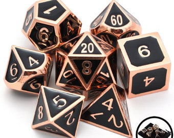 Besglo 7 Die Polyhedral Metallic Enamelled Number Dice Set (Black/Copper) - Purchasing Cooperative