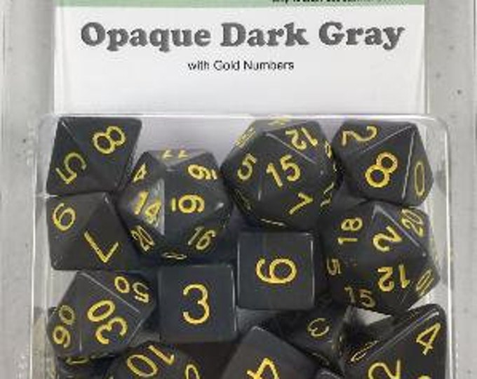 Role 4 Initiative 20mm Polyhedral Dice Set: Opaque Dark Gray with Gold Numbers (15) - Purchasing Collective