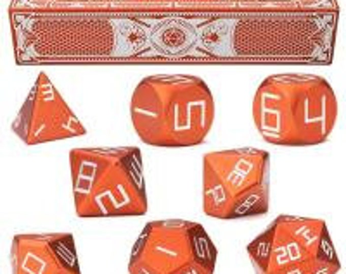 WizDice Set of 8 Precision Aluminum Polyhedral Dice (Sunburst Orange)